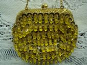 1960's Gold Satin Evening Purse with Sequins, Beads + Lucite Drops. Converts to Clutch Bag (sold)